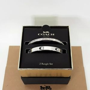 Coach Cut Out C Bangle Set Silver Bracelets